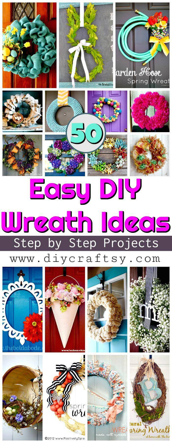 DIY Wreath Projects - 50 Easy DIY Wreath Ideas - DIY Wreath, DIY Home Decor, DIY Projects, DIY Crafts