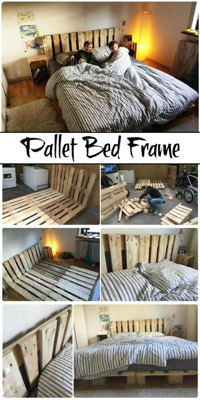 Easy But Great Wooden Pallet Bed Frame - DIY Pallet Furniture Projects