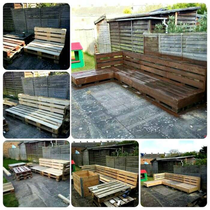 Homemade Wooden Pallet Garden Sofa - DIY Pallet Sofa Projects