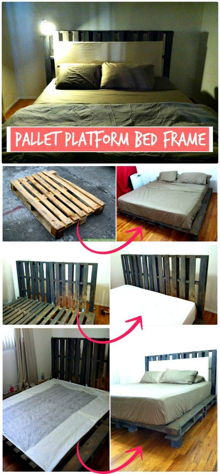 DIY Pallet Platform Bed Frame - Step by Step - Wooden Pallet Ideas and Projects