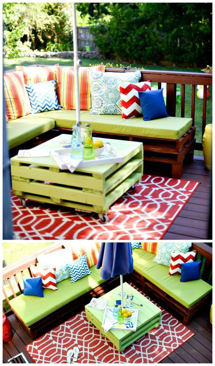 Wooden Pallet Corner Sofa - DIY Pallet Sitting Furniture Set Ideas