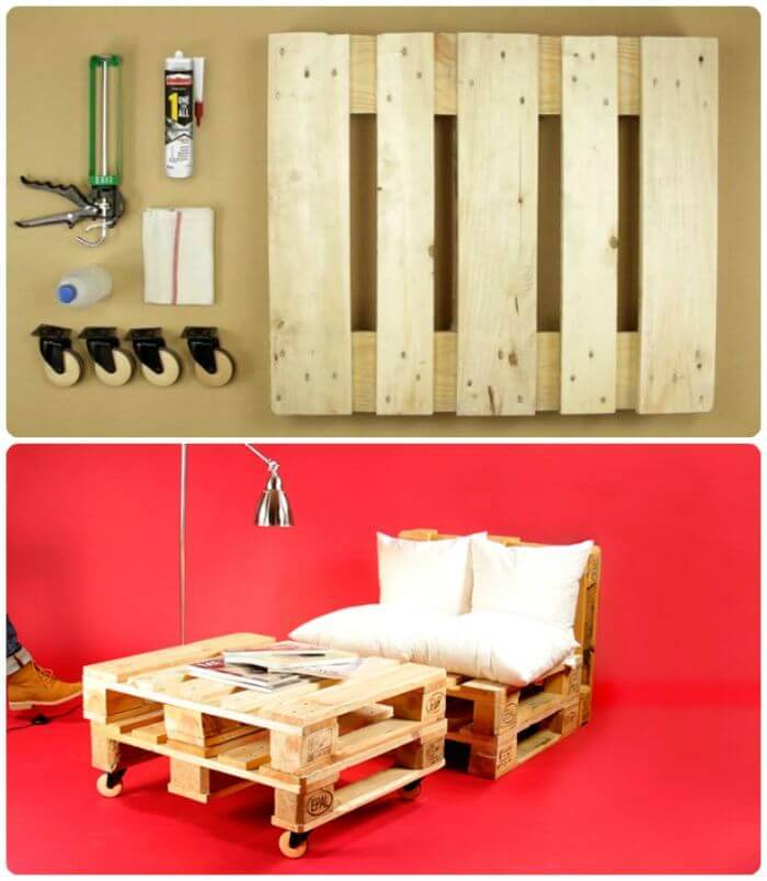 DIY Rolling Pallet Sofa - DIY Pallet Sofa Projects