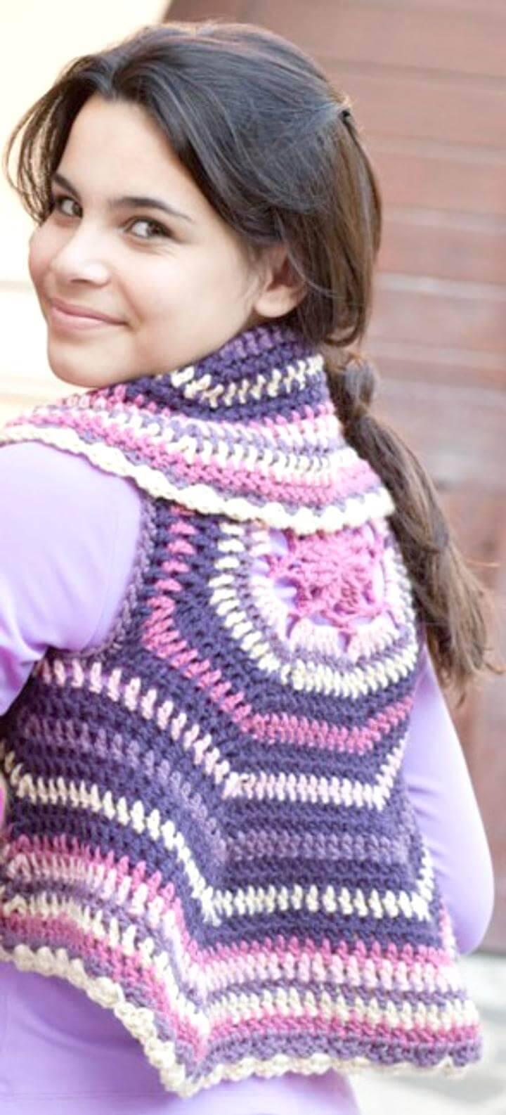 Super Cute Crochet Vest Circular Pattern