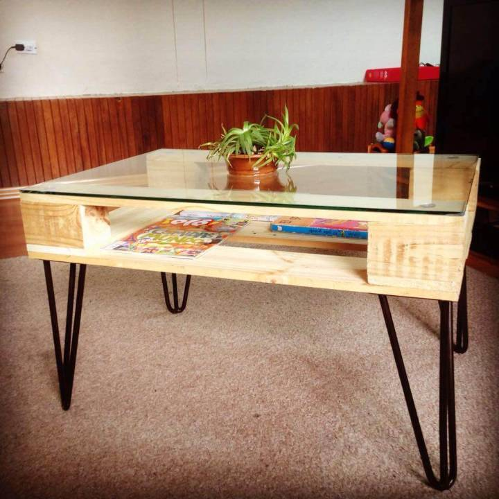 pallet and metal coffee table with glass top