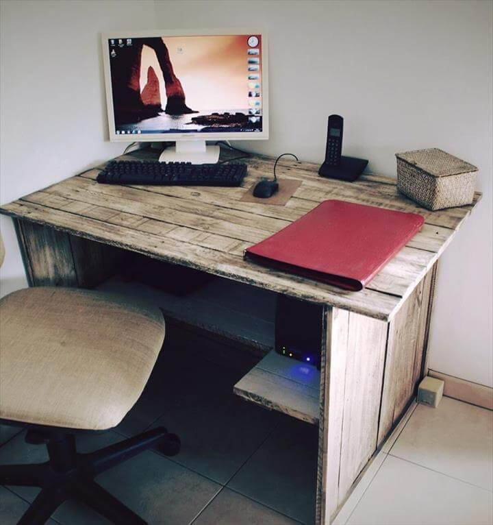 diy wooden pallet computer desk
