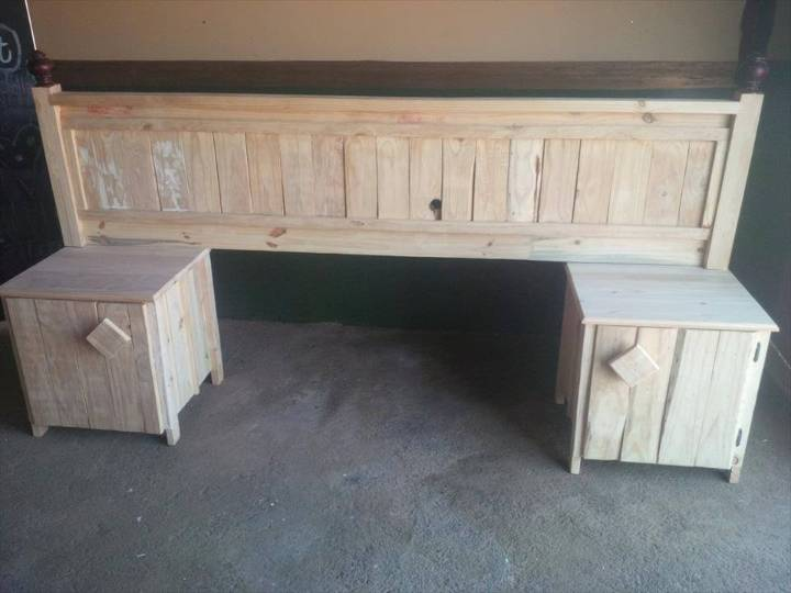 handcrafted pallet headboard and nightstand set