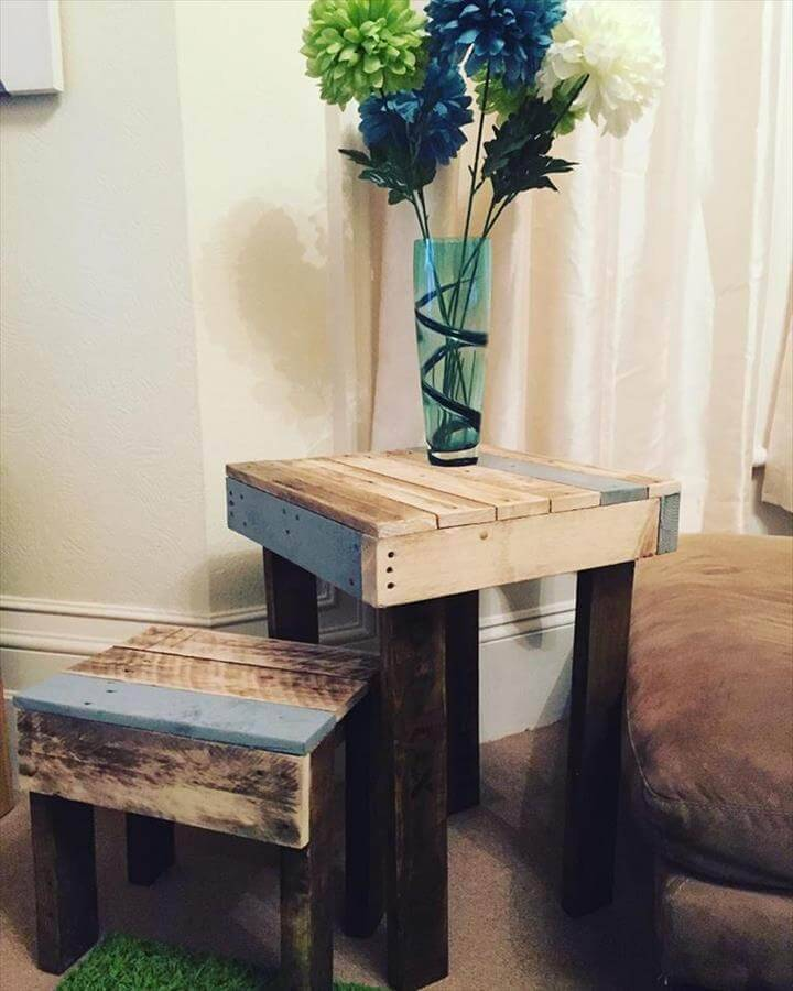 pallet side table and end table set