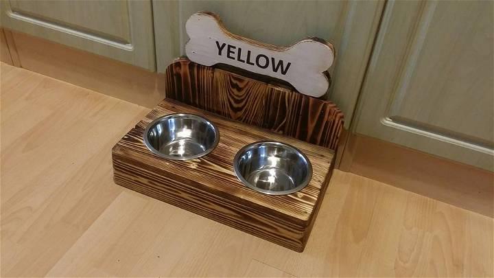 wooden pallet dog bowls