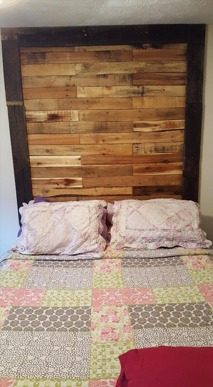 wooden pallet headboard wall