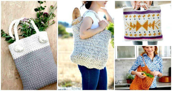 18 Free Crochet Bag Patterns Crochet Tote Bags Diy Crafts