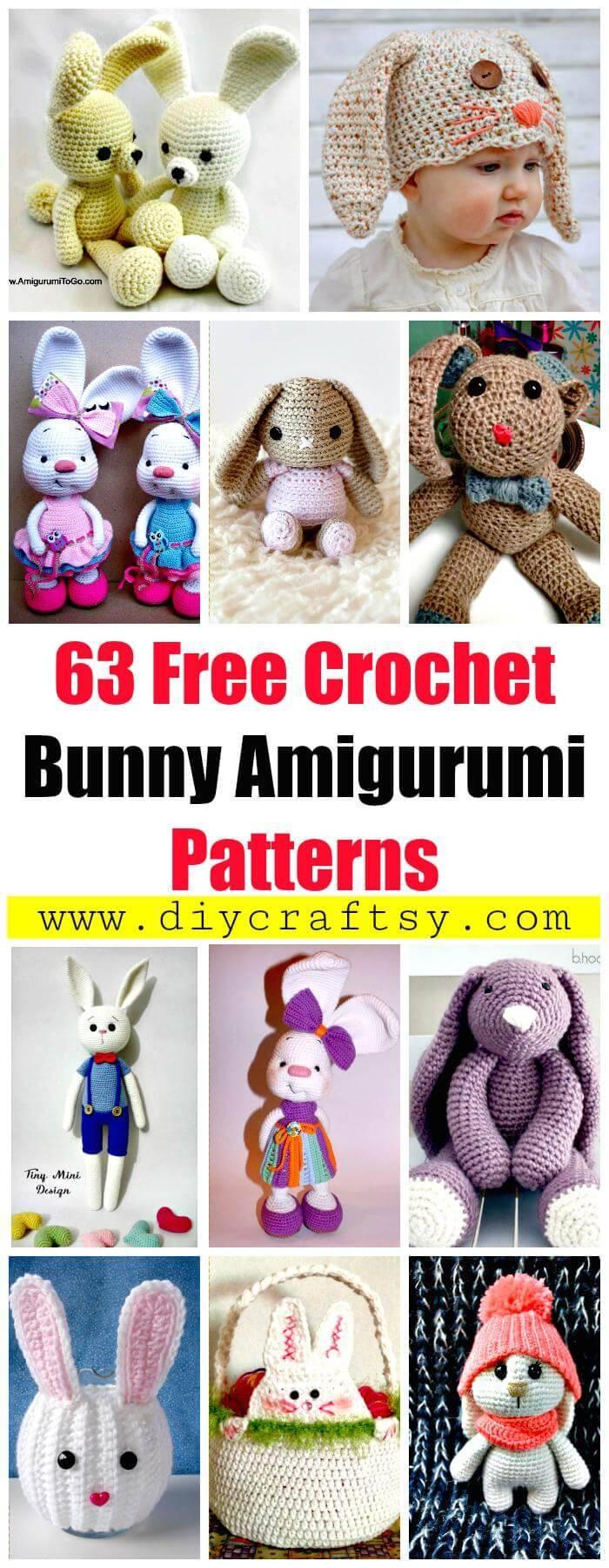 63 Free Crochet Bunny Amigurumi Patterns - Free Crochet Patterns - Crochet Amigurumi Patterns