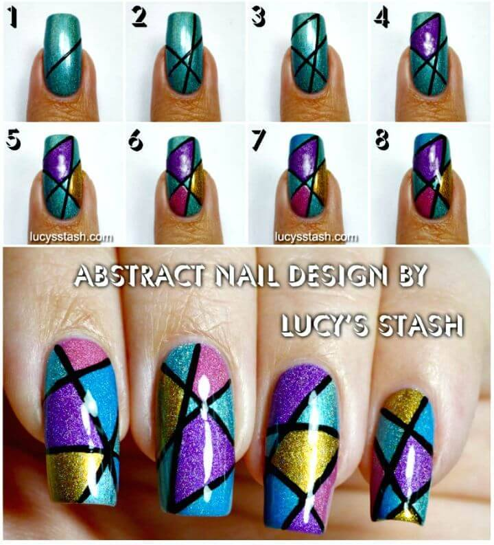 Easy DIY Abstract Holo Nail Art Design