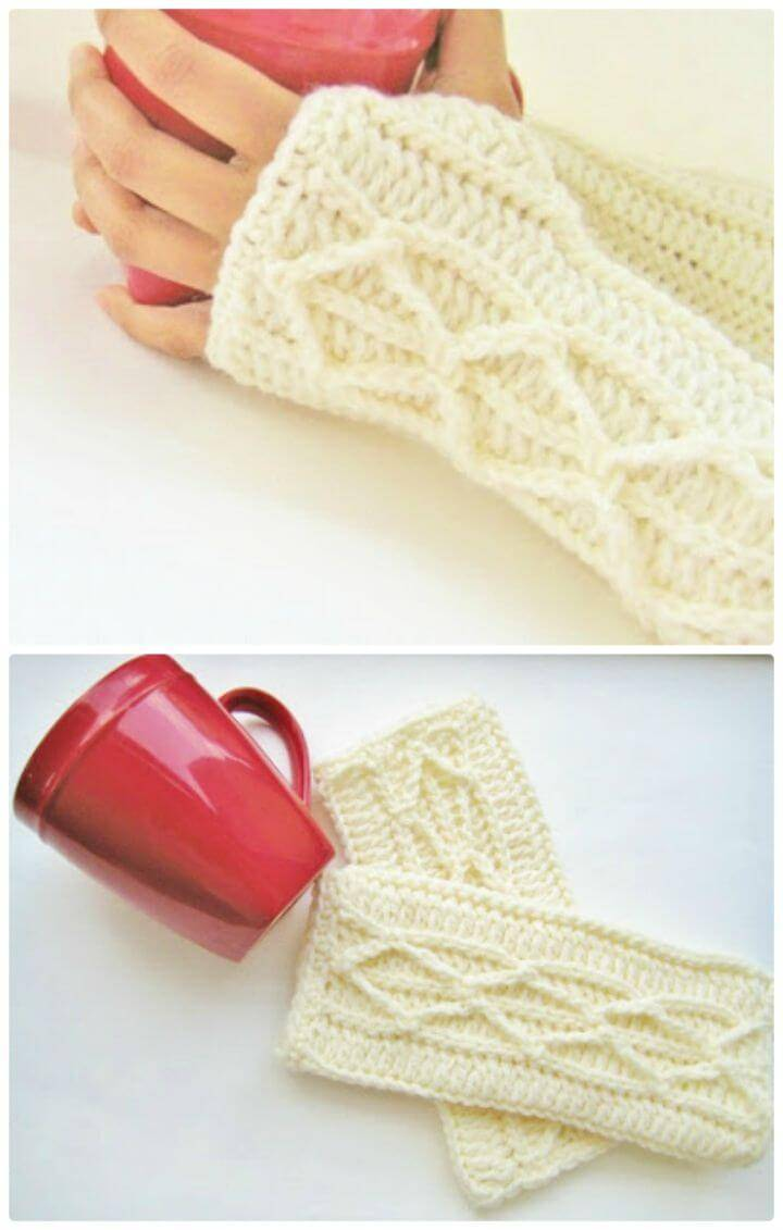 Crochet Adeline Fingerless Mitts or Arm Warmers, Easy Crochet Pattern with Faux Cables - Free Pattern