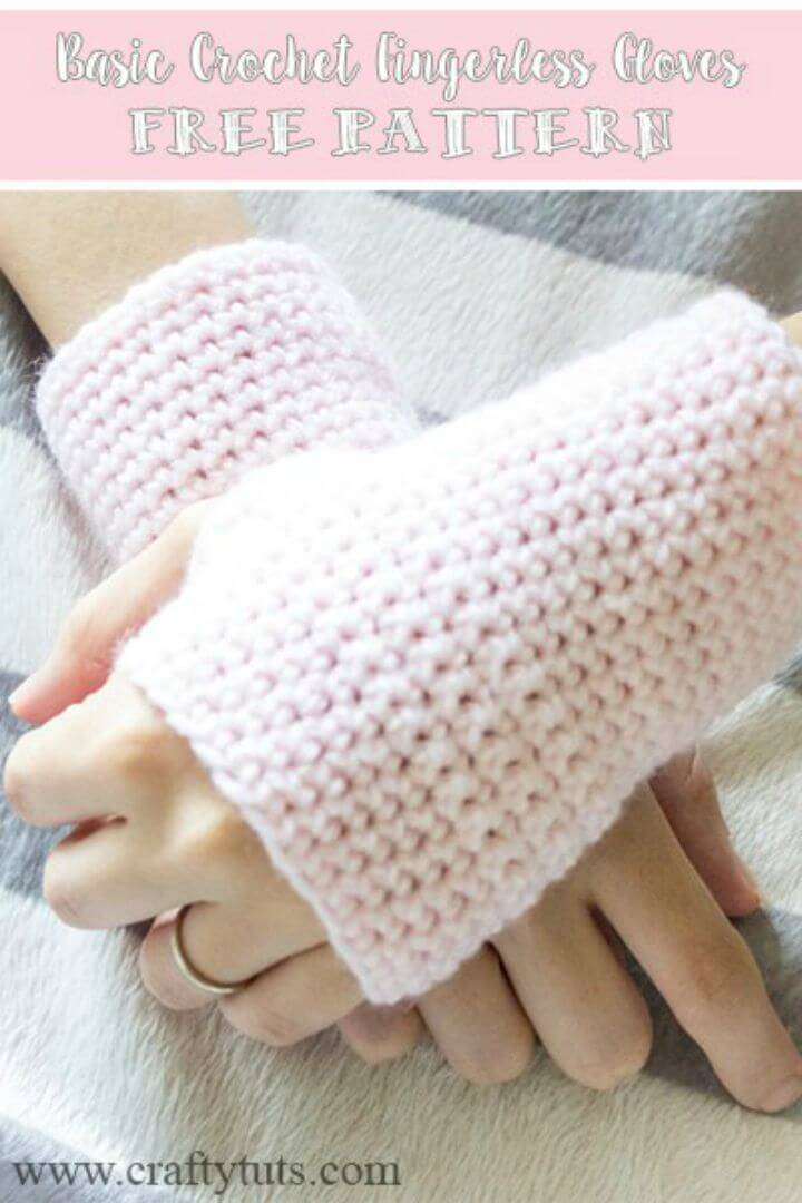 Basic Free Crochet Finger-less Gloves Free Pattern Pattern