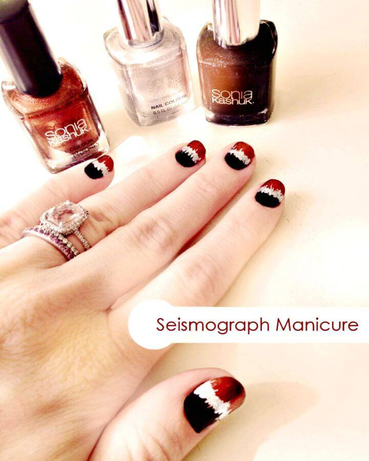 DIY Black, Copper and Silver Metallic Seismograph Nails