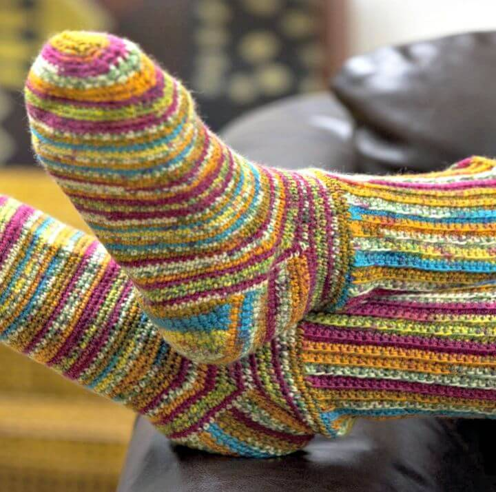 Colorful Free Crochet Socks Pattern