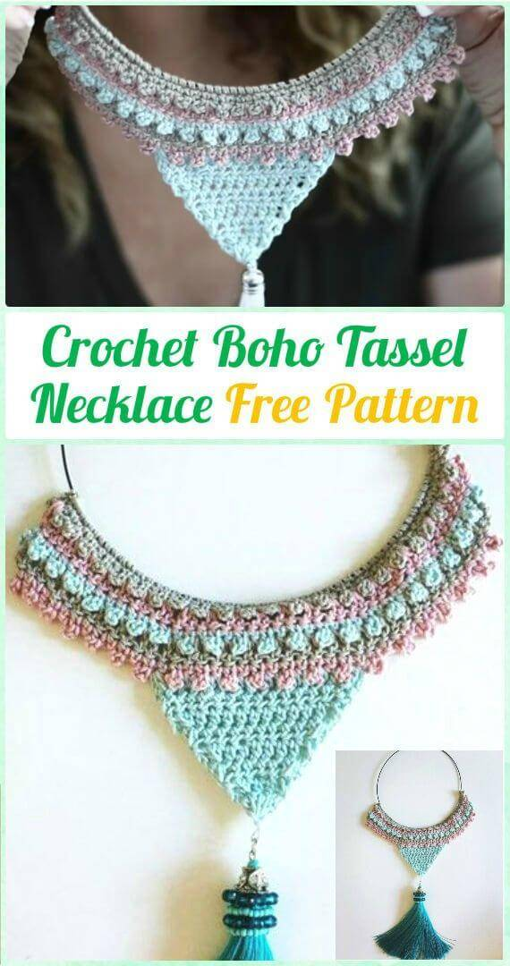 Crochet Boho Tassel Necklace Pattern
