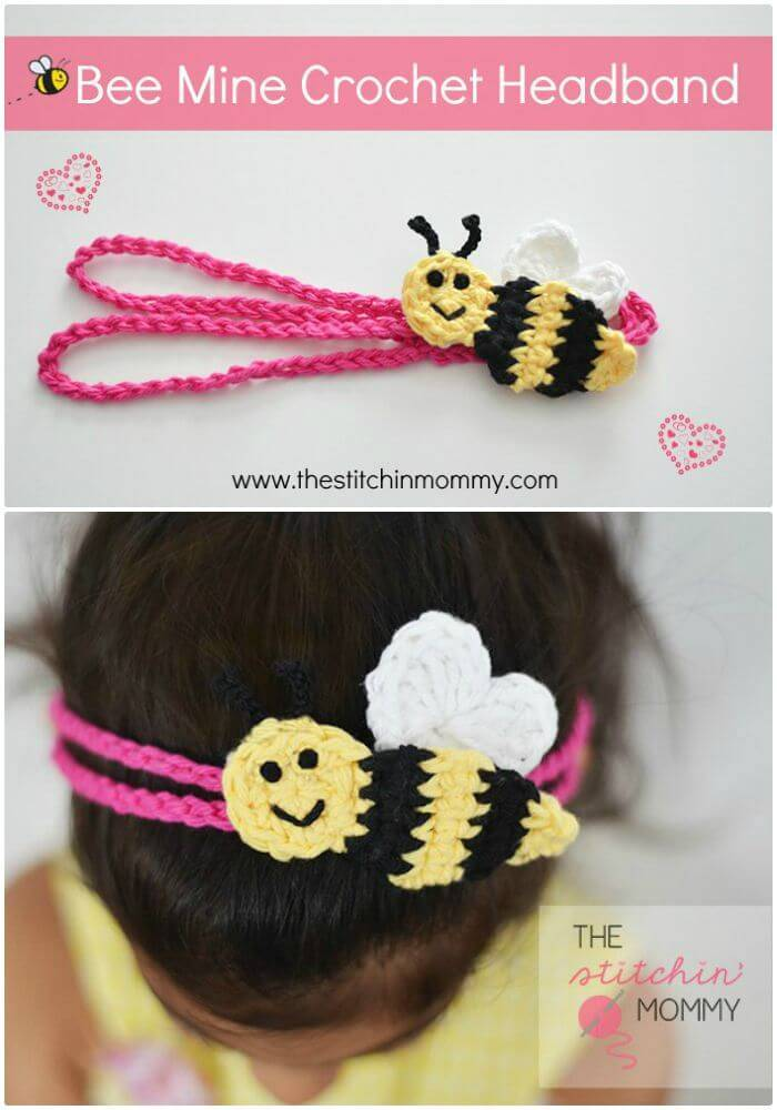 "Easy Free Crochet ""Bee Mine"" Headband – Free Pattern"