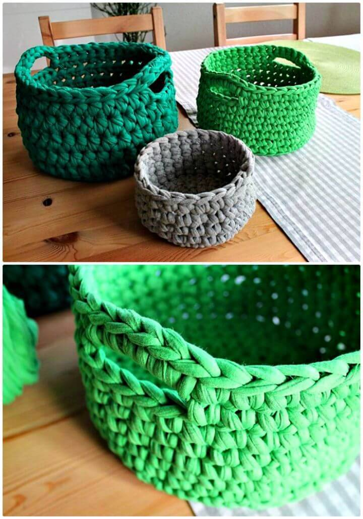 Free Crochet A T-Shirt Yarn Basket Pattern