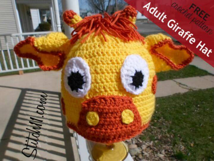 Crochet Adult Giraffe Hat - Free Pattern