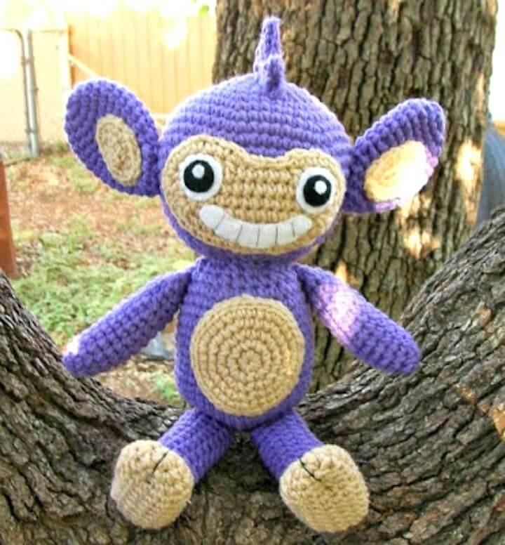 Easy Crochet Aipom Plushie Amigurumi - Free Pattern