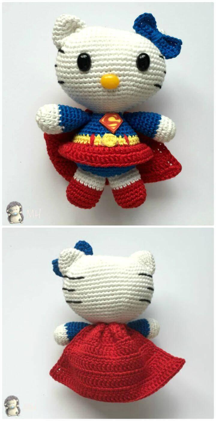 Free Crochet Amigurumi Hello Kitty Superwoman Pattern