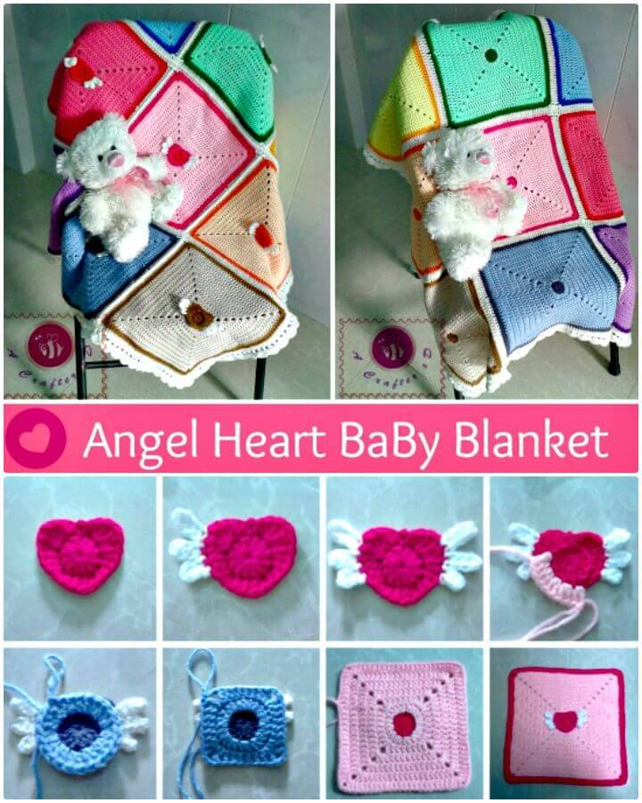 Free Crochet Angel Heart Baby Blanket Pattern