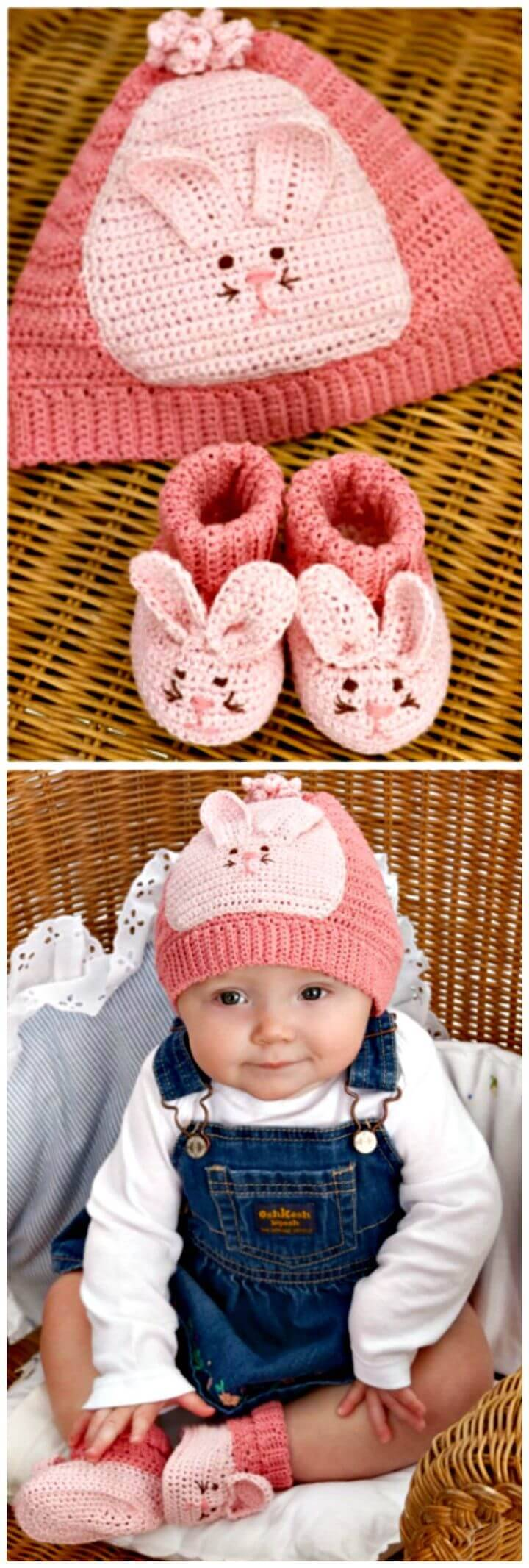 How To Crochet Baby Booties & Hat From Red Heart
