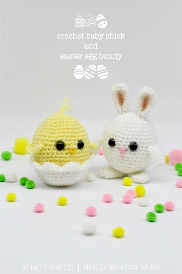 How To Crochet Baby Chick and Easter Egg Bunny - Free Pattern