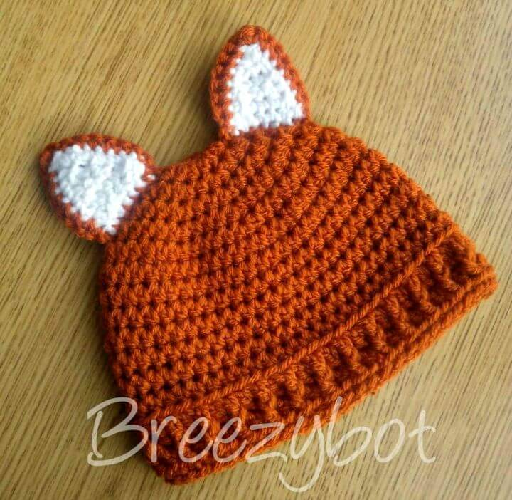 Easy Crochet Baby Fox Hat Free Pattern