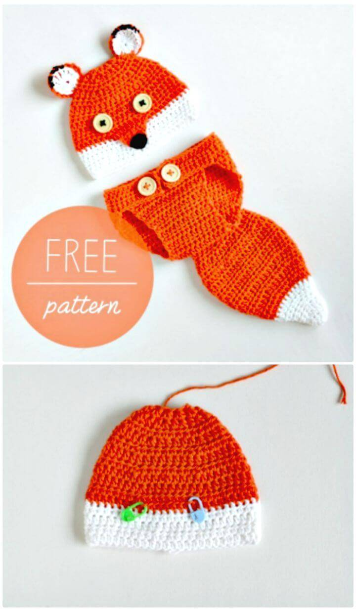 How To Crochet Cute Fox Baby Hat And Diaper Cover-Free Pattern