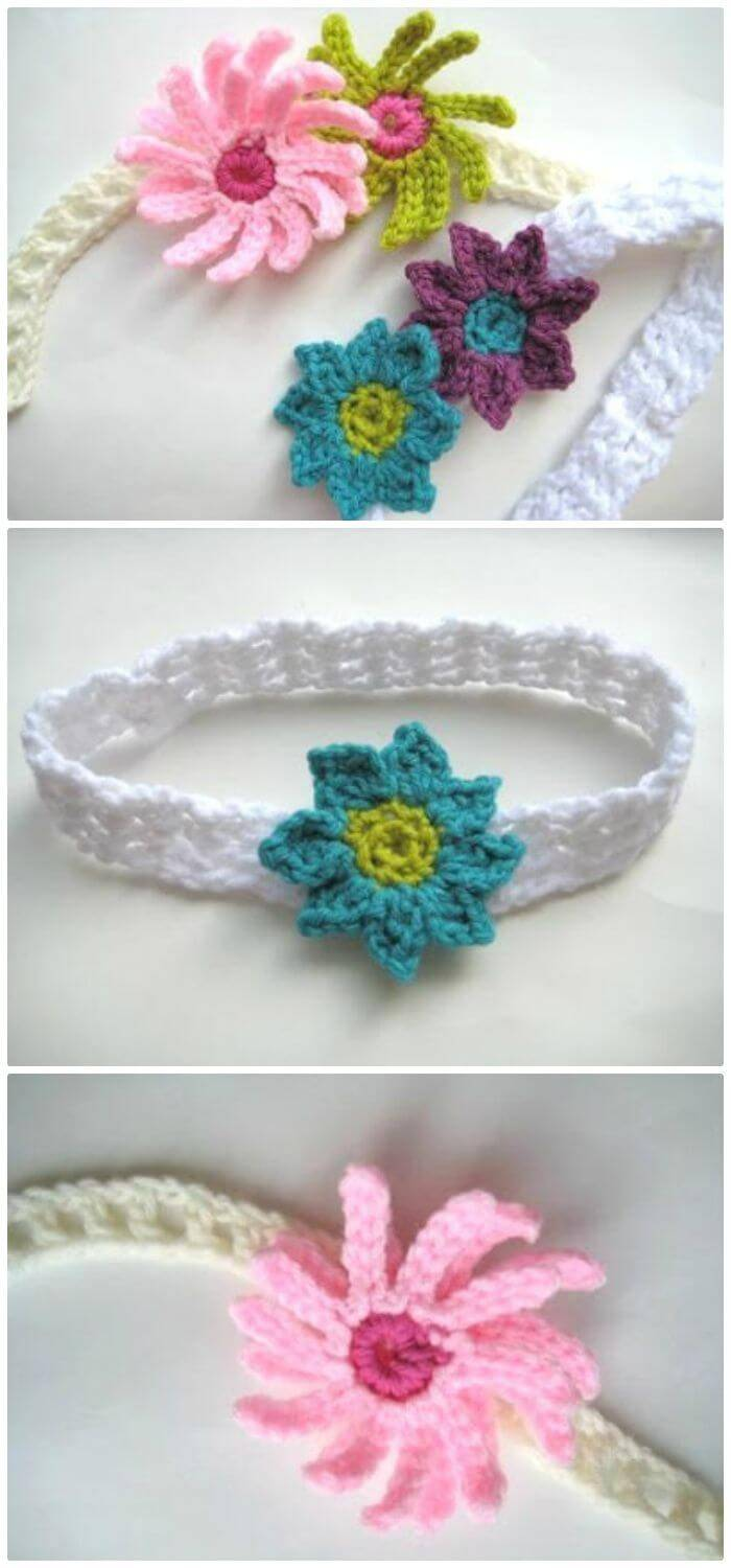 Free Crochet Baby Headband With Flowers-Free Pattern