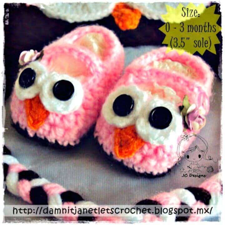 Crochet Baby Owl Booties With Free Pattern