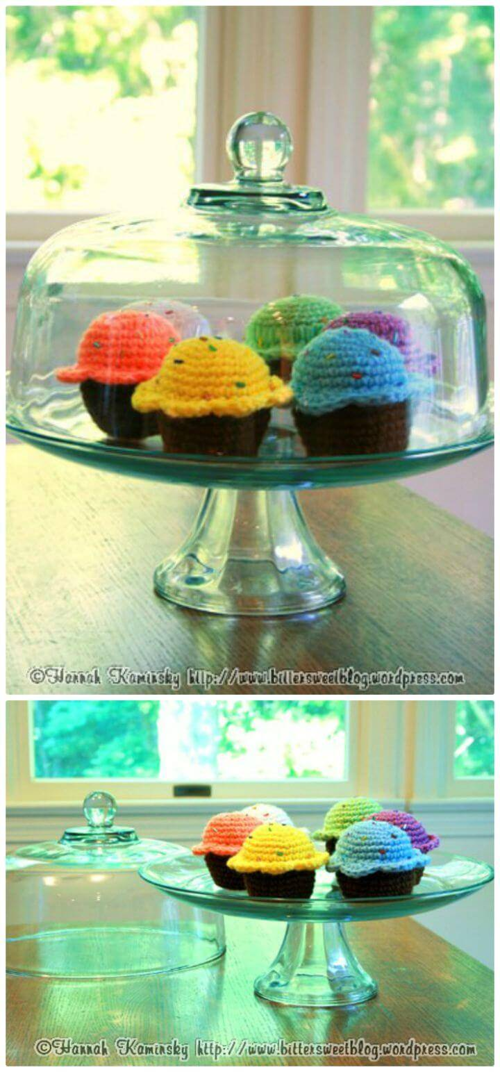 Crochet Bake Me a Cake Cupcakes - Free Valentine Day Pattern