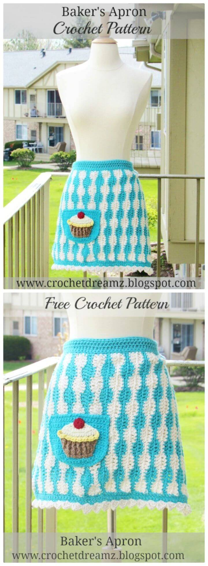 Easy Crochet Baker's Apron with Jumbo Cupcake Applique - Free Pattern