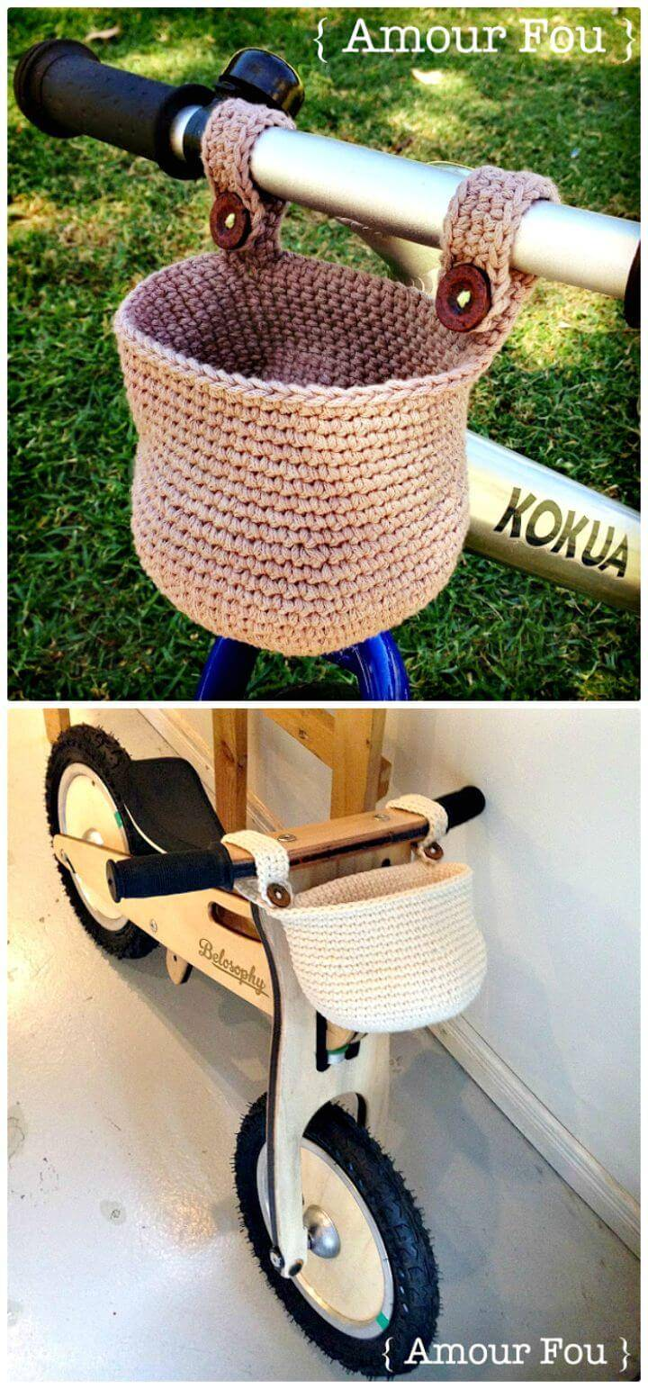 Free Crochet Basket For Kids' Bike Pattern Step By Step Instructions .