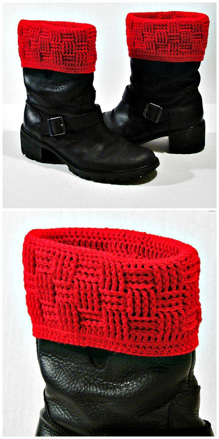 Free Crochet Basket Weave Boot Covers Pattern
