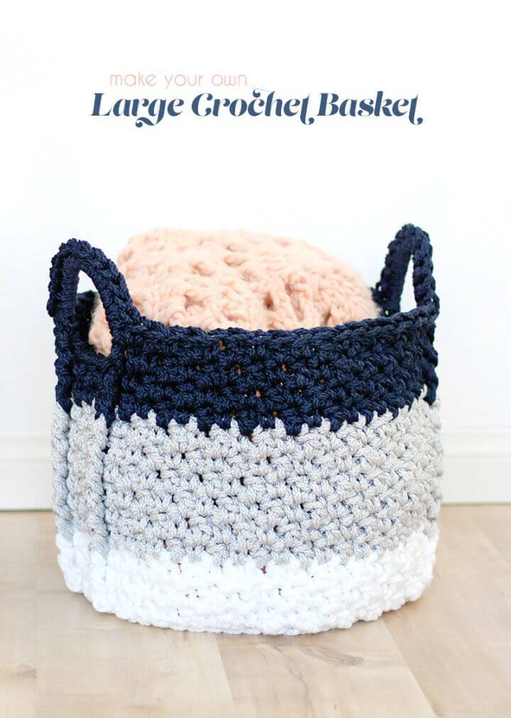How To Easy Crochet Basket With Handles – Free Pattern