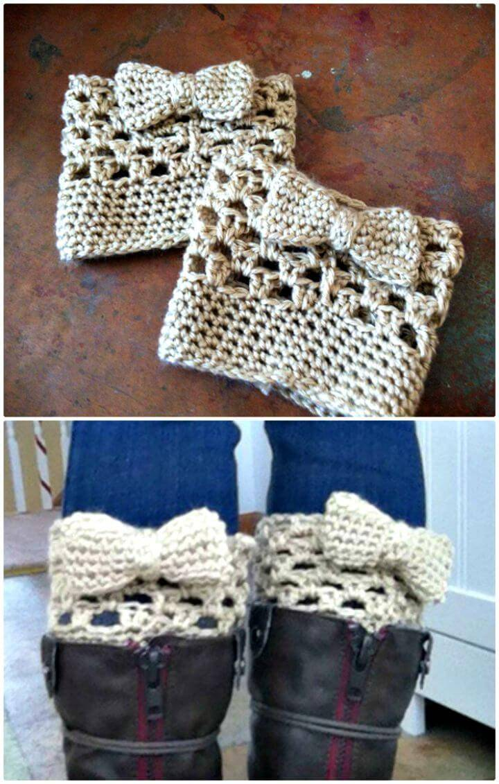 Crochet Bow Boot Cuffs- Free Pattern