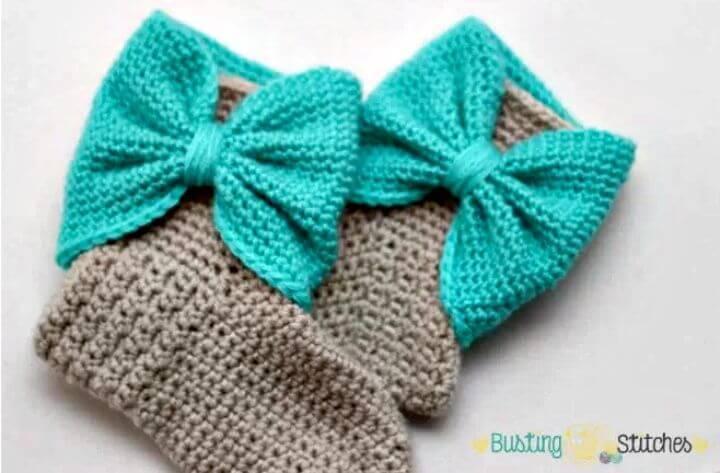 Free Crochet Bow Cuff Slipper Boots Pattern