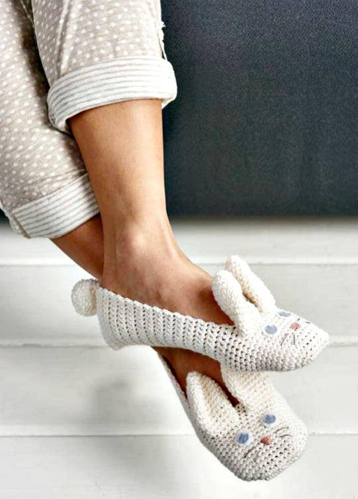 How To Crochet Bunny Adult Animal Slipper - Free Pattern