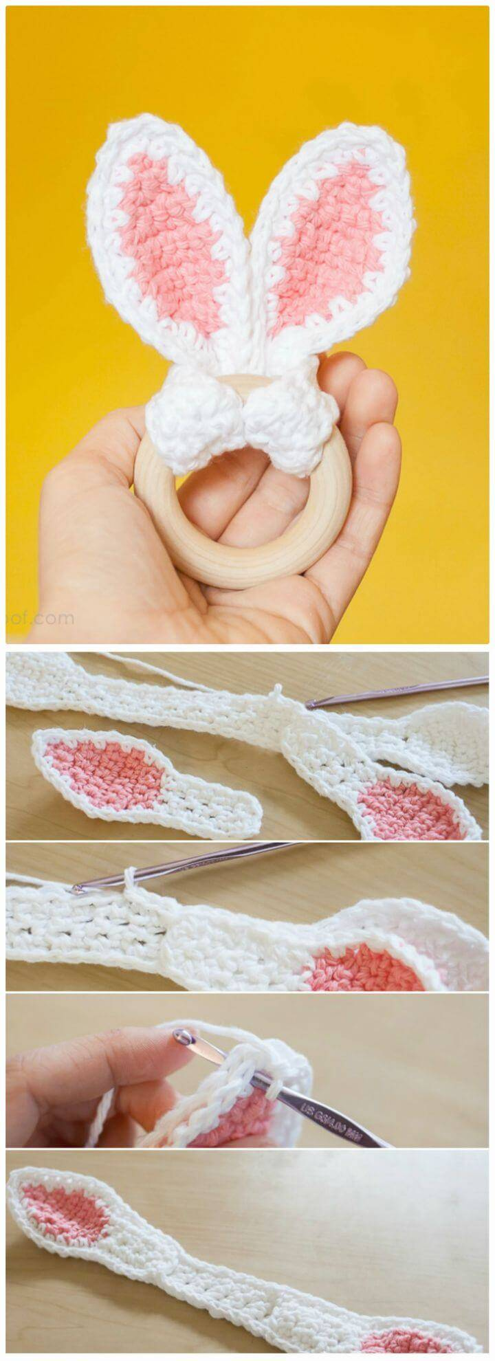 How To Crochet Bunny Ears Wooden Teether