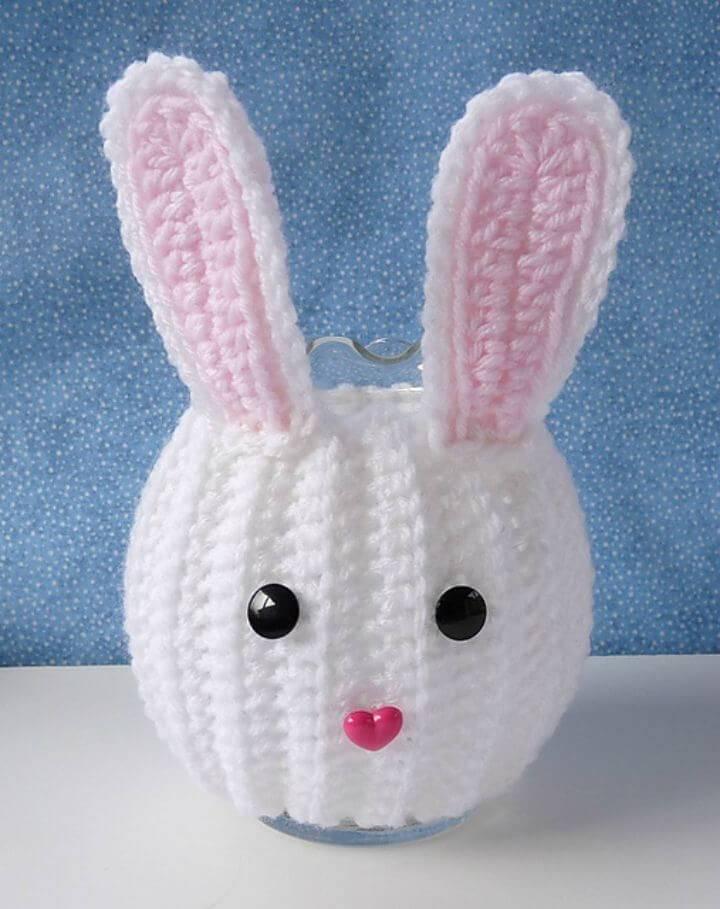 Free Crochet Bunny Jar Cozy Pattern