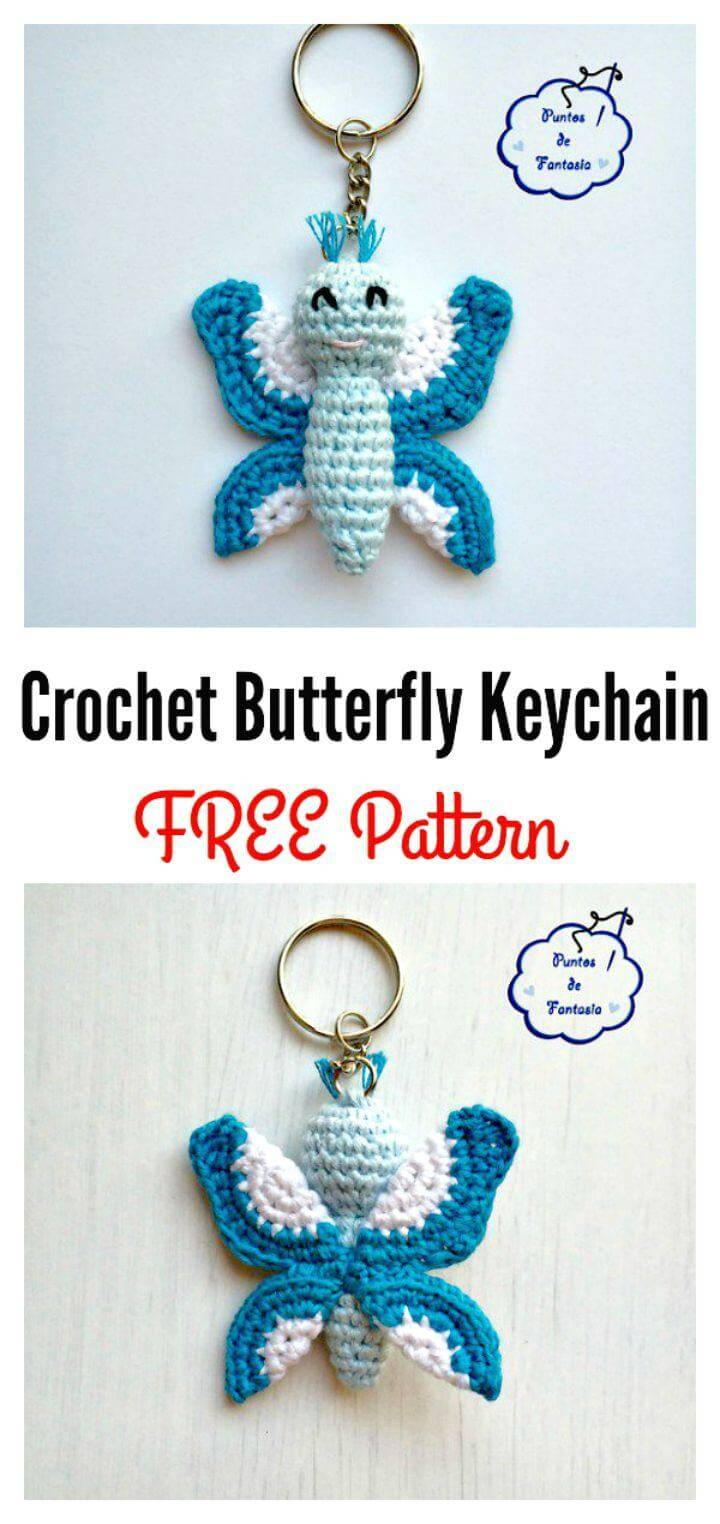 Free Crochet Butterfly Key-chain Pattern