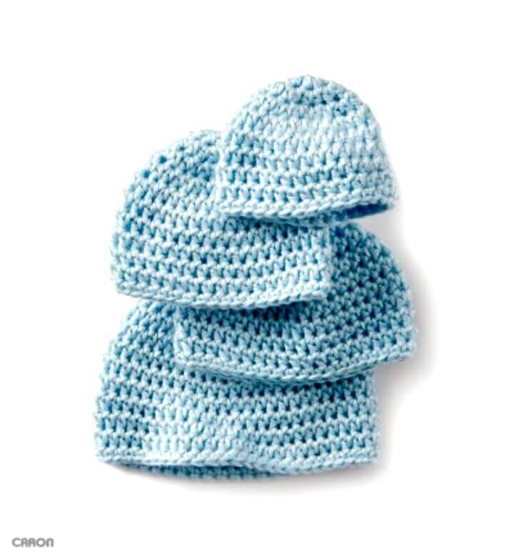 Easy Crochet Caron Teeny Weeny Cap - Free Pattern