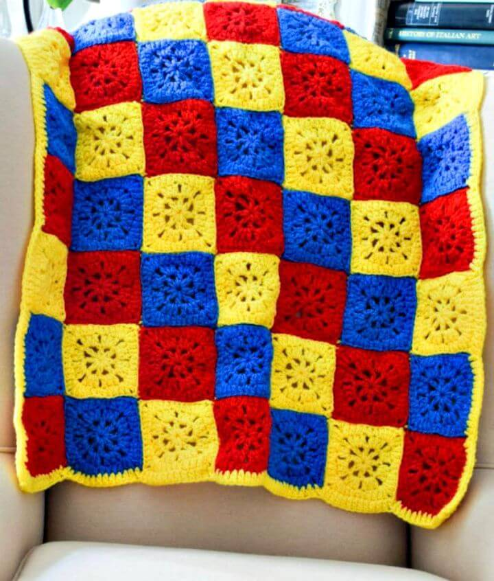 Free Crochet Checkerboard In Primary Colors Blanket In 6 Sizes Pattern