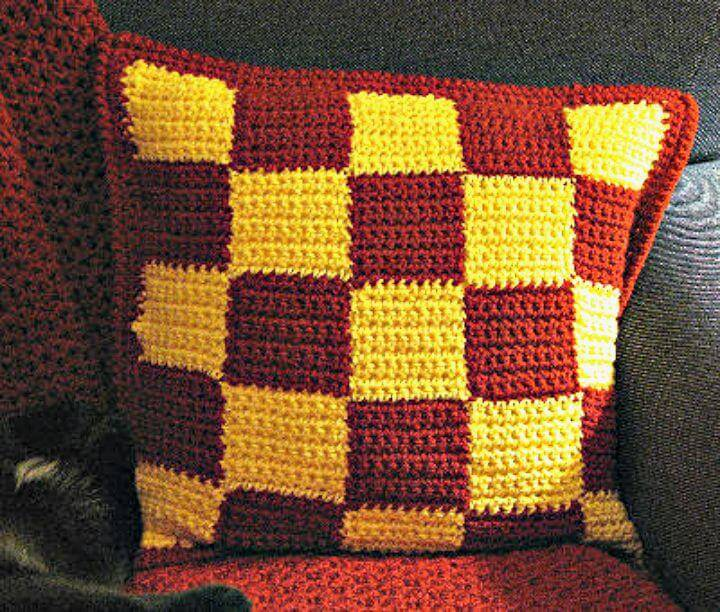 Free Crochet Checkerboard Pillow Pattern