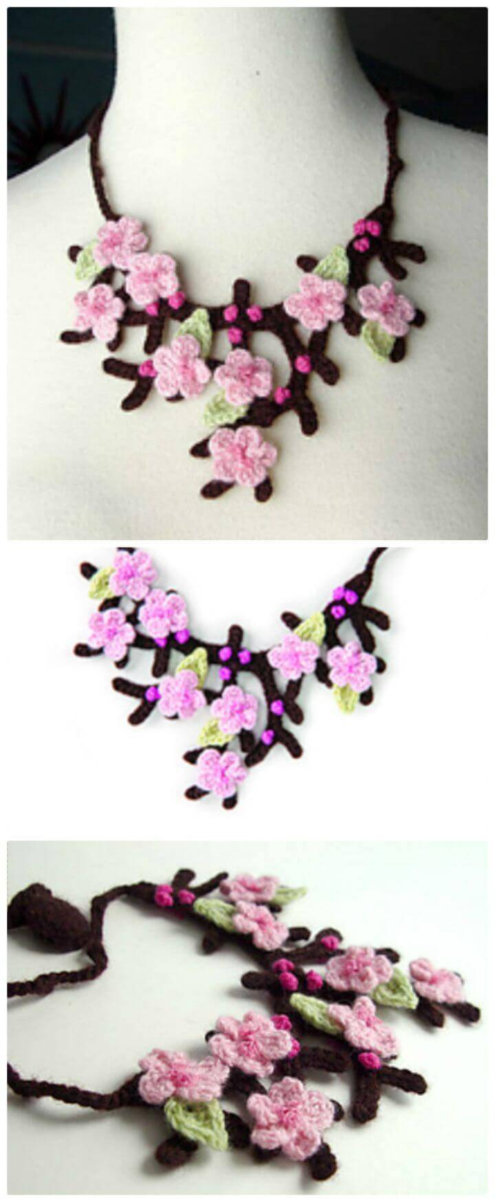 How To Crochet Cherry Blossom Necklace - Free Pattern With Tutorial