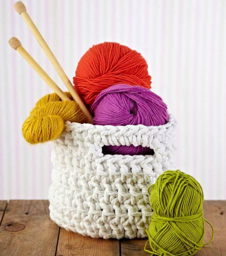 How To Free Crochet Chunky Storage Basket Pattern