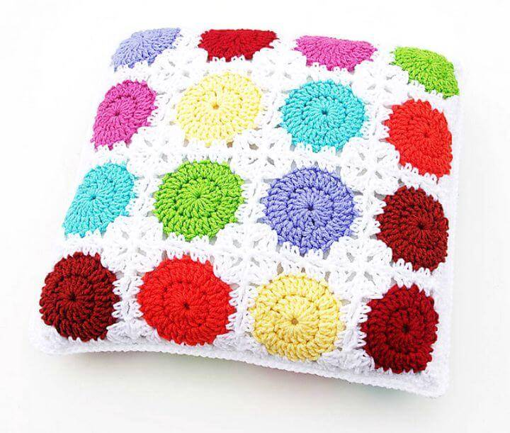How To Free Crochet Circle In A Square Motif Pillow Pattern